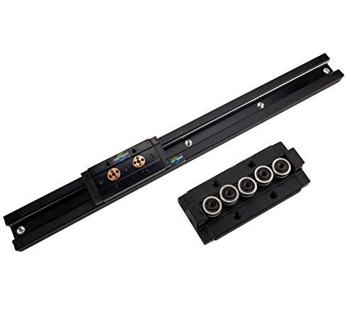 TEN-HIGH Guide linéaire double axe avec traitement anodique noir 1250mm rail linéaire SGR20 avec 2 blocs de chariot SGB20-5UU pour imprimante 3D et machine CNC