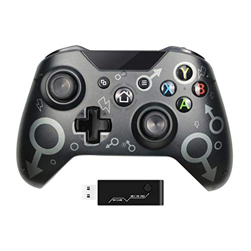 COEMA Mando inalámbrico, Adaptador inalámbrico 2.4GHZ Gamepad, Batería 600mAh, Plug and Play, Compatible con Xbox One/One S/One X/ PS3/PC (Sin conector para auriculares)