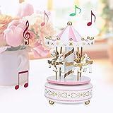 【𝐒𝐞𝐦𝐚𝐧𝐚 𝐒𝐚𝐧𝐭𝐚】 Carrusel Music Box, Merry-Go-Round Musical Box, Decoración para el hogar Acentos Cajas Figurines, Regalo de cumpleaños de Boda de Navidad para la Familia de Sus niñas(Blanco
