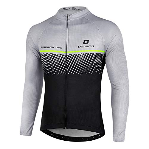LAMEDA Cycling Jerseys Cycle Bike Jersey Mens Tops Shirt Team Long Sleeve Mountain Bicycle Breathable Sports Clothing for Men Summer L