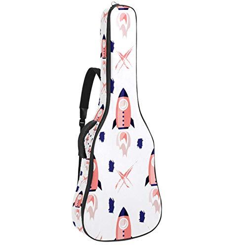 Funda impermeable para guitarra acústica 41 de 42 pulgadas, acolchado de 10 mm, con lazo para colgar en la parte trasera y bolsillo para soporte de partituras, diseño de cohetes espaciales universo