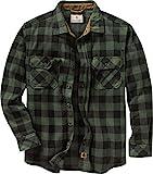 Legendary Whitetails Men's Standard Navigator Fleece Button Down Shirt, Night Forest Plaid Green, Large