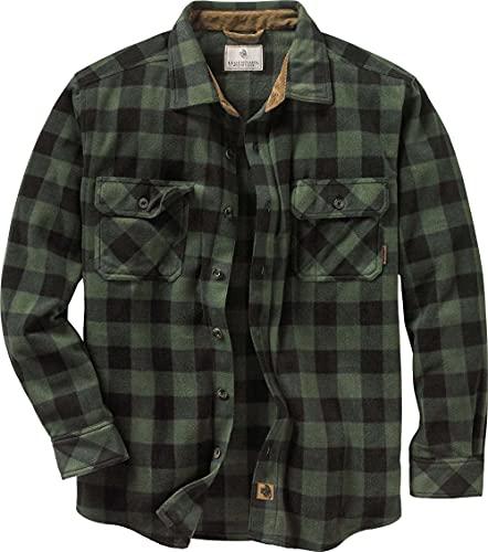 Legendary Whitetails Men's Standard Navigator Fleece Button Up Shirt, Night Forest Plaid Green, XX-Large