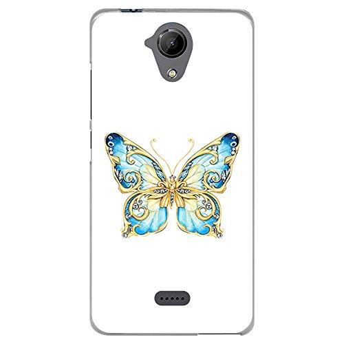BJJ SHOP Transparent Hülle für [ Wiko U Feel Lite ], Flexible Silikonhülle, Design: Blauer Schmetterling mit goldenen Flügeln