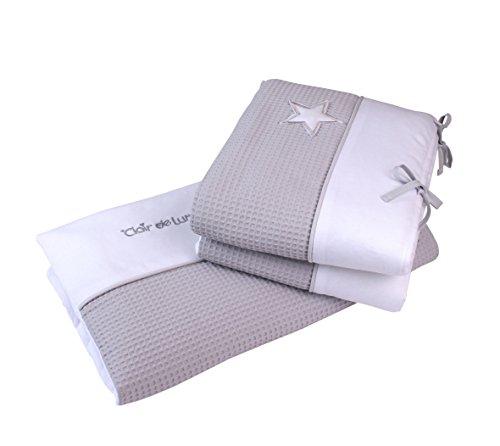 Gris/blanc clair de lune Argent Doublure Berceau/lit bébé avec couette et bord de lit