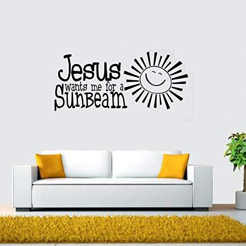 Jesús quiere mi sol pegatina de vinilo para pared calcomanía arte dice papel tapiz edificante niños sala de estar decoración del hogar A4 26x60cm