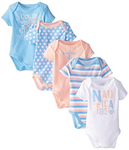 Nautica Baby Girls' 5 Pack Bodysuits, Fuchsia, 0-3 Months
