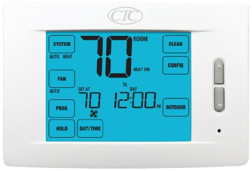 Supco 84210T Wall Thermostat, 5/2 and 7 Day or Non Programmable, Up to 4 Heat/2 Cool Heat Pump Systems, Up to 3 Heat/2 Cool Conventional Systems, 10 Square Inch Touchscreen Display