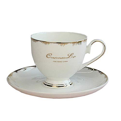 TEAYASON Tazas de Té de Café de Porcelana Platos de Taza de Café de Porcelana China Juego con Borde Dorado Juego de Regalo de 2 para Restaurante en Casa (Color: Blanco, Tamaño: Talla Única),Blanco