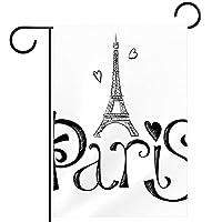 ガーデンフラッグ縦型両面 12x18in 庭の屋外装飾.パリのエッフェル塔