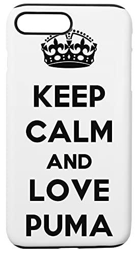 Keep Calm And Love Puma Custodia Per Telefono Compatibile Con iPhone 7+, iPhone 8+ Copertura in Plastica + Silicone Dura Hard Plastic Cover