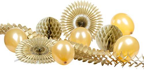 Heku 30008-24: Party-Deko-Set mit Wabenbällen, Dekofächern, Einer Girlande aus Papier und Luftballons, 10-teilig, Gold