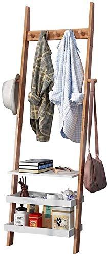 ZouYongKang Soporte de Perchero de Capa de pie Libre de bambú, 5 Ganchos, Stand de la Percha de Abrigo fácil de Montar para Dormitorio, Oficina, Pasillo, Entrada, Dormitorio