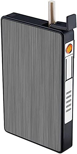 FGDFGDG Caja de Cigarrillos, Caja de Cigarrillos con encendedores, Encendedor de cigarros Recargables USB, a Prueba de Viento sin flamado eléctrico, Paquete Completo 16pcs Cigarrillos Delgados,Negro