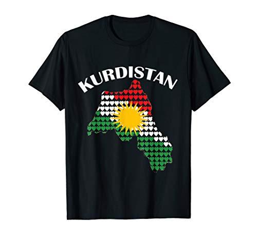 Kurdistan mit den Herzen Kurdische Flagge mit Karte T-Shirt