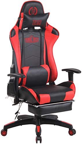 CLP Chefsessel Turbo XFM Kunstleder mit Massagefunktion l Höhenverstellbarer Bürostuhl mit ausziehbarer Fußablage und beheizbarem Sitzbereich, Farbe:schwarz/rot