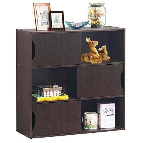COSTWAY Librería con 3 Puertas y 6 Compartimentos Estantría de Pie Separador Estante para Oficina Hogar Libros CD Plantas Almacenamiento 78x30x78 centímetros