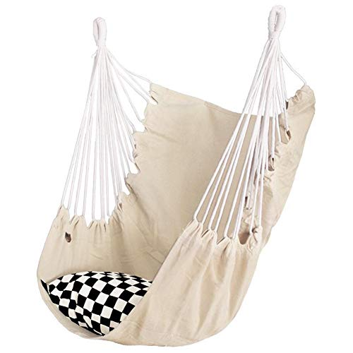 ZH Hammock Chair Large Hanging Chair Relax Hanging Swing Chair Without Spreader Bar Lightweight Portable Cotton Woven for Superior Comfort Durability
