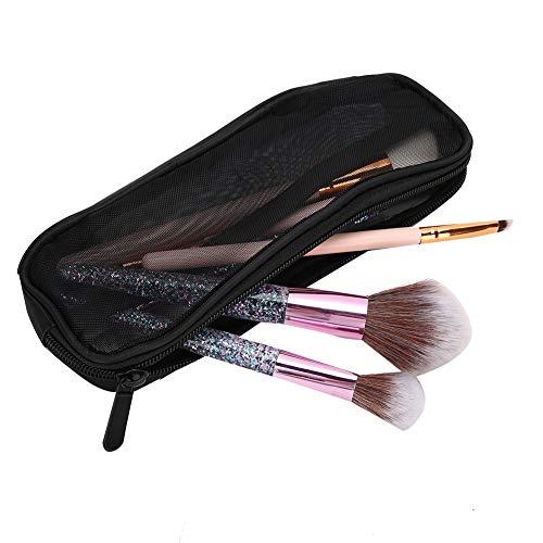 Sac à brosses, sac de pinceaux de maquillage à fermeture à glissière en nylon, sac de brosses de maquillage à grille creuse, sac de brosses à cosmétiques, idéal pour les voyages et les voyages