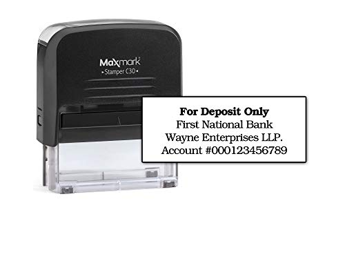 Bank Deposit Stamp - Four Line Self Inking Stamp for Check Endorsement - 3/4' x 1-7/8'