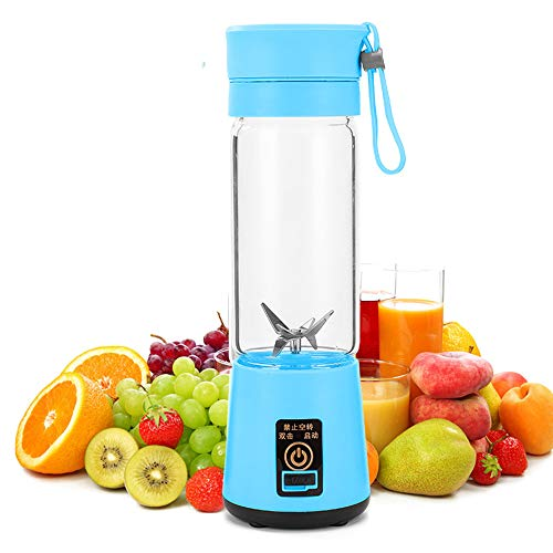 Personal Blender, Portable Juicer Cup/Electric Fruit Mixer/USB Juice Blender, Rechargeable, Six Blades in 3D for Superb Mixing, 380mL Green,Blue