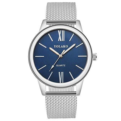 Reloj de la Correa_2019 Nueva Tendencia Reloj de la Correa de Las señoras Mesa de los Estudiantes shopee Relojes Calientes cinturón de Plata Azul