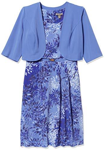 Maya Brooke Women's Windowpane Pattern Mesh Lace Jacket and Knit Dress Set, Lavender, 12