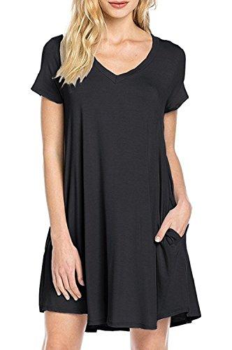 Zero City Damen-Tunika, kurze Ärmel, lockere Taschen, Baumwolle, einfache Tunika Gr. X-Large, Schwarz