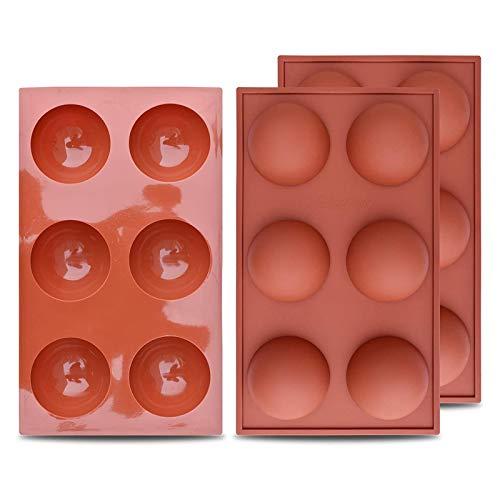 Molde de Silicona semiesfera Grande de 6 cavidades, 3 Paquetes de Molde para Hornear para Hacer Chocolate, Pastel, gelatina, Mousse de cúpula