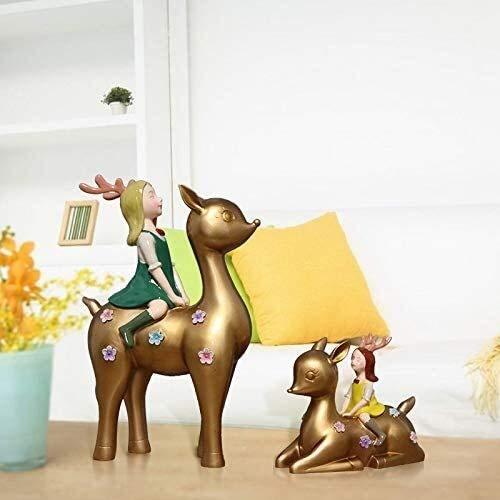 YANRUI Ciervos y niña Estatua Resina Escultura artesanía Modelo decoración de decoración de hogar Dormitorio de niños Dormitorio decoración Interior Accesorios Regalo Figurines (Color : B)
