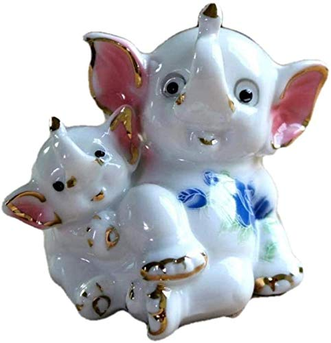 Sculptures Statues decoration statues statues animal beautiful porcelain mother and baby elephant figurine ceramic wild animal miniature gift craft ornament for home decor