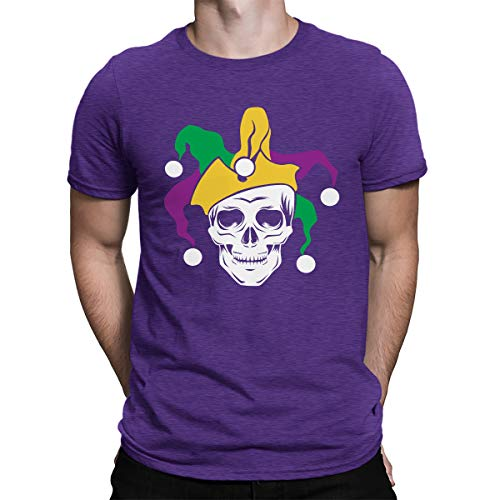 SpiritForged Apparel Mardi Gras Skull Jester Men's T-Shirt, Purple Large