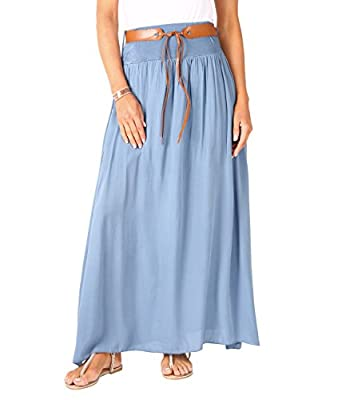 KRISP Womens Bohemian Gypsy Cotton Belted Elastic High Waist Maxi Long Skirt Plus Size