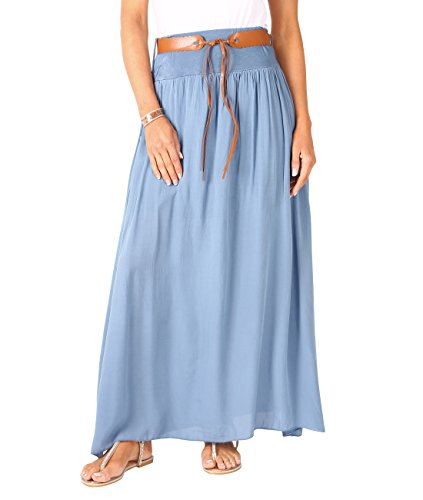 KRISP 4809-DNM-ML, Falda Larga Bohemia Elegante Plisada Hippie Cintura Elástica, Azul Vaquero (4809), M/L