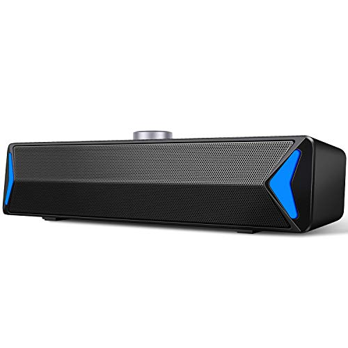 [2021 Version] Computer Speakers, PC Wired Desktop Sound Bar with LED Lights, 2.0 Stereo Sound USB Powered Laptop Speaker for Computer, Desktop, Mac, Pad, Cellphone and More