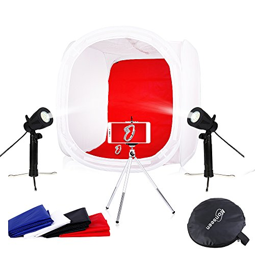 Photo Studio Shooting Tents Box & Table Light Kits 20x20x20inch Photography Video Lighting Cube Diffusion Softbox Kit with 2x50W Led Lamps