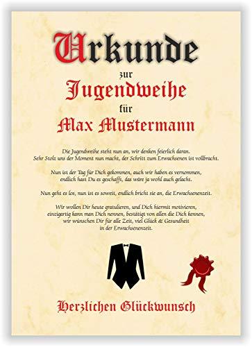 Urkunde personalisiertes Geschenk Karte zur Jugendweihe Glückwunsch A4 Papier Pergament Gedicht Erwachsen Party Deko Erinnerung