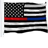 G128 - Thin Blue Line Thin Red Line Flag 150D Polyester 3x5 FT Printed US Flag Brass Grommets Black White Red US Flag