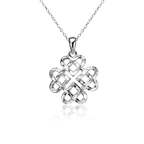 Sterling Silver Diamond-cut Irish Celtic Heart Love Knot Necklace