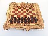 Juego de ajedrez rústico, tamaño XL, con figuras de ajedrez, hecho a mano, de madera de olivo, regalo