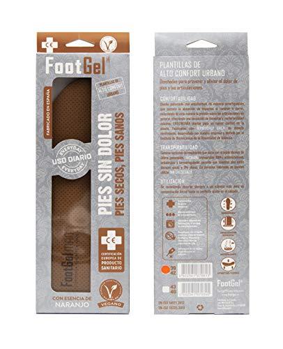 Footgel TP-0602561570345_1152-004 Plantillas Gel Hombre, Naranjo, 43-46