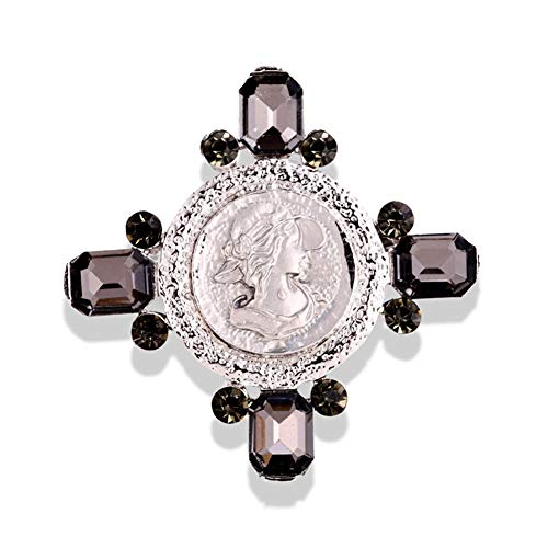 Vintage Cameo Cross Brooch Luxury Crystal Banquet Brooches Jewelry For Women Scarf Clip Accessories
