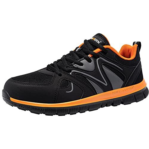 LARNMERN Zapatos de Seguridad Mujer Hombre Zapatillas de Seguridad Trabajo con Punta de Acero Cómodo Ligeros Transpirablesin Negro Naranja 41 EU
