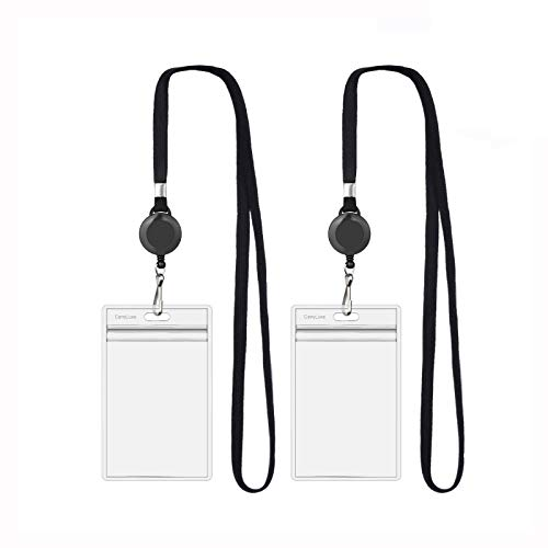 CarryLuxe Lanyard with ID Holder Sets (Black,2 Pack)- Flat Polyester ID Lanyard with Retractable Badge Reel & Vinyl Name Badge Holder