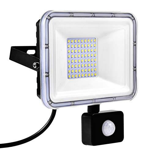 Luces de Inundación LED de 50W con Sensor de Movimiento, 4000LM Luz de Punto 6000K IP67 Iluminación Exterior Impermeable para Jardín Paisaje