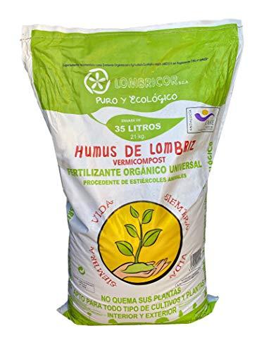 VERMIORGANIC Humus de Lombriz Ecológico 21KG (35 L), Categoría Extra. Abono para Todo Tipo de Plantas, Cultivos y Huertos Urbanos. Fertilizante Orgánico 100% Reconstituyente de la Vida del Suelo
