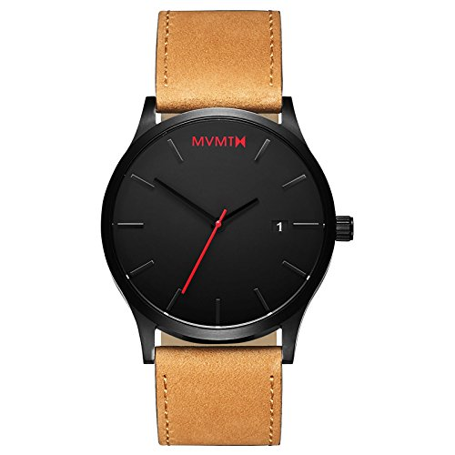 MVMT Men's Minimalist Vintage Watch with Analog Date | Black Tan