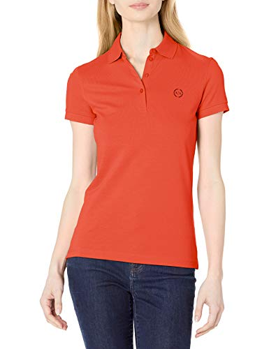 Armani Exchange Classic Circle Logo Short Sleeve Pique Polo Shirt Camisa, Sangria, S para Mujer