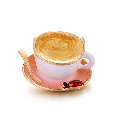KXHZJM 1Pc Wit Emaille Broches Cup Koffie Lepel Disc Vorm Goud Kleur Broche Bovenkleding Pak Accessoires Eenvoudig Voor Vrouwen