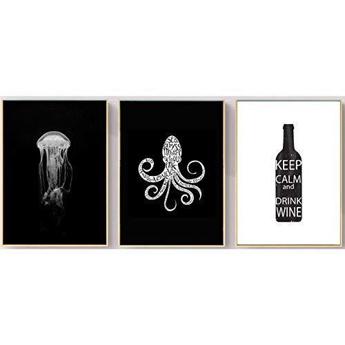 AdoDecor Pulpo Medusa Animal Art Print Botella de Vino Lienzo Pintura Cartel nórdico Cuadros de Pared en Blanco y Negro para la decoración de la Sala de Estar 50x72cmx3 Sin Marco